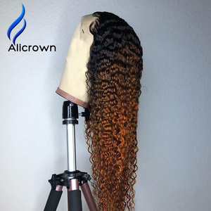 Image 2 - ALICROWN Ombre Curly Lace Front Human Hair Wigs with Baby Hair 13*4 Middle Ration Non Remy Hair Lace Wigs Pre Plucked Wigs