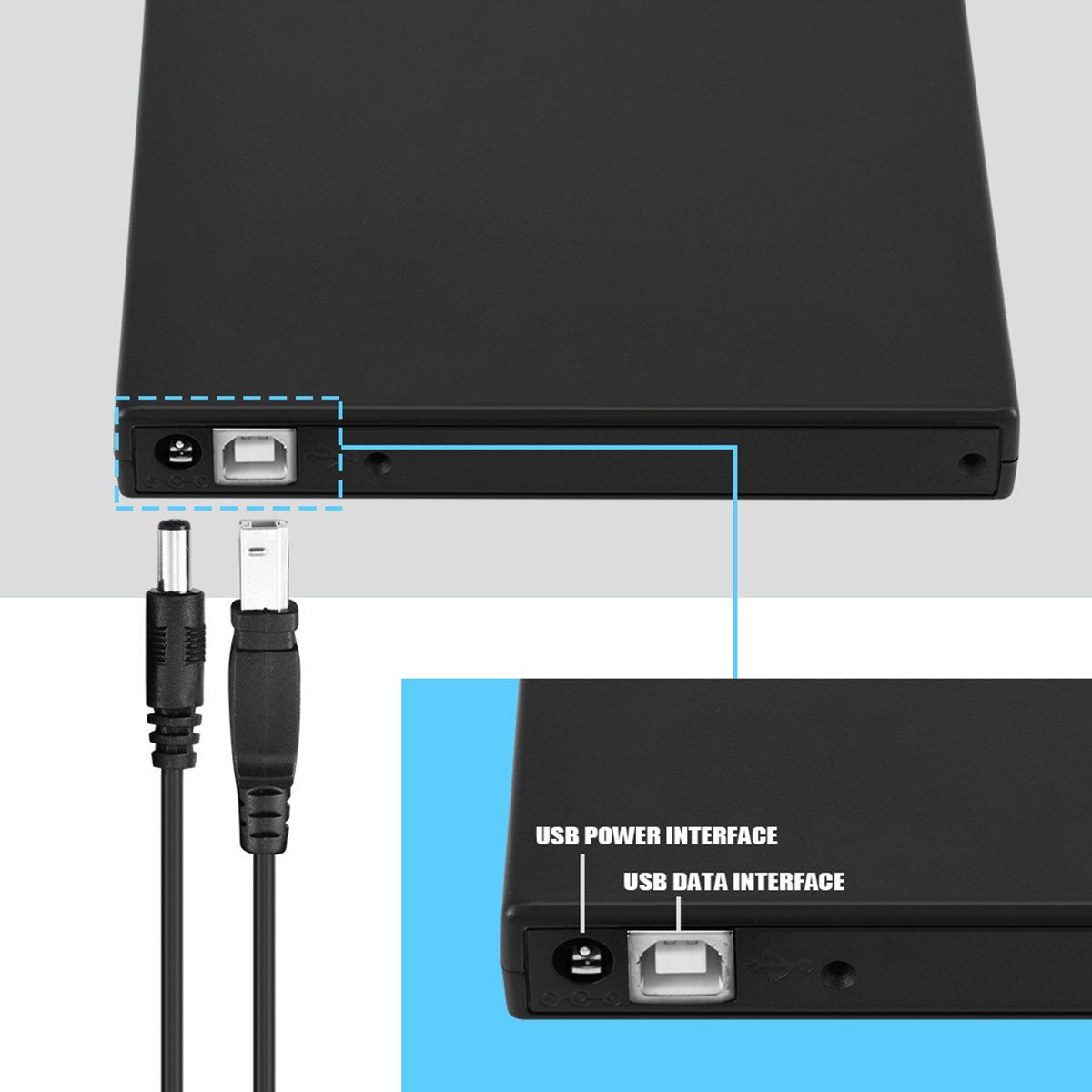 SOONHUA USB 2.0 Optical Drive Case Kit External Mobile Enclosure With USB Charging Cable And Circuit Board For Laptop 6