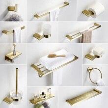 MTTUZK матовый золотой SUS304 нержавеющая сталь аксессуары для ванной комнаты Набор полотенец Полка бумажный держатель крюк полотенце бар аксессуары для ванной комнаты