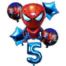 6 Pcs/set 32 Inch Number 1-9 years Spider-man Helium Balloon Spiderman Superhero Avengers Birthday Party Balloons Decorations
