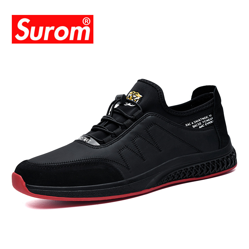 PU Leather Cow Suede Splice Men's Casual Shoes Autumn New Fashion Elastic Top Loafers Men Embroidery Design Non-slip Rubber Shoe