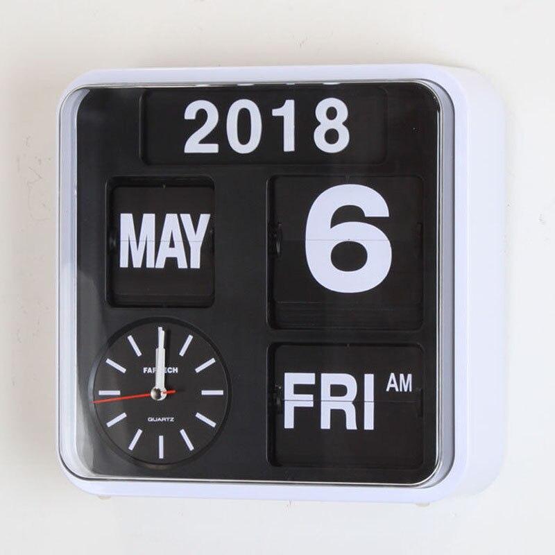 Calendrier automatique Flip horloge salon décoration rétro numérique Flip horloge Page créative de luxe mur montre décor à la maison 9 pouces
