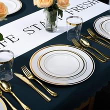 Одноразовые столовые приборы с золотым ободком для дома и жизни, набор свадебных буфетов для 15 гостей