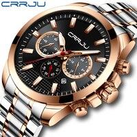 CRRJU 새로운 48mm 빅 다이얼 시계 세련된 방수 크로노 그래프 시계 크리 에이 티브 오리지널 24 시간 디스플레이 스테인레스 스틸 손목 시계