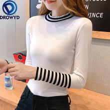 Autumn O-neck T-shirt Womens Harajuku Fashion Multicolor Slim Long-sleeved Striped Cotton Cute Sexy Street Party Shirt