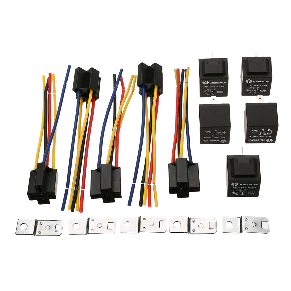 5Pcs New 12V 30//40 Amp SPDT Automotive Relay 5-Pin Wires /& Harness Socket Set