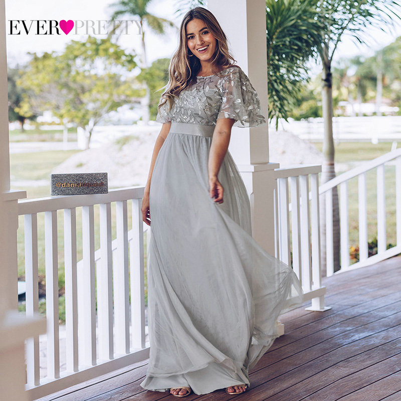 Sparkle Grey Prom Dresses Ever Pretty A-Line O-Neck Sequined Short Sleeve Elegant Evening Party Gowns Robe De Soiree Femme