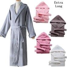 Winter Bathrobe Hooded Thick 100% Cotton Men's robes Five-star Hotel Robes Women Long-Sleeve Absorbent Terry Fleece Pijamas