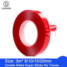 LUDUO 3M Car Stickers Super Fix Red Double Sided Protective Self Adhesive Tape Acrylic Transparent No Traces Auto Exterior Fixed