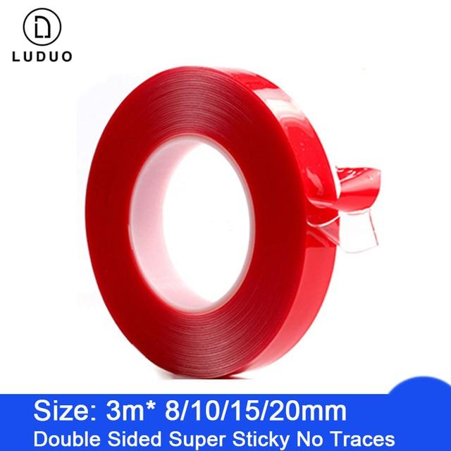 LUDUO pegatinas de doble cara para coche, cinta adhesiva de doble cara roja, acrílica transparente, sin huellas, para Exterior y fija, 3M
