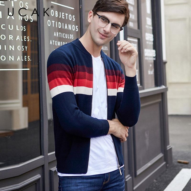 UCAK Brand Merino Wool Sweater Men Autumn Winter Warm Cashmere Cardigan Men Streetwear Young Fashion Striped Sweater Coat U3050