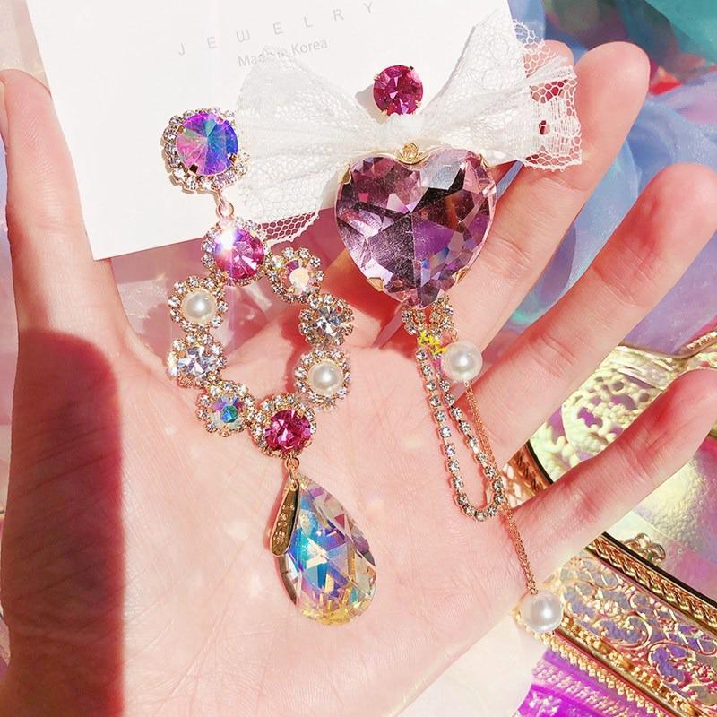 MENGJIQIAO Korean Fashion Asymmetric Heart Crystal Long Rhinestone Drop Earrings For Women Elegant Lace Bowknot Brincos Jewelry