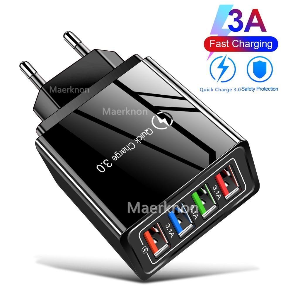 4 portas usb carregador de carga rápida 3.0 para iphone 12 pro max xiaomi samsung huawei tablet portátil de parede do telefone móvel carregador rápido