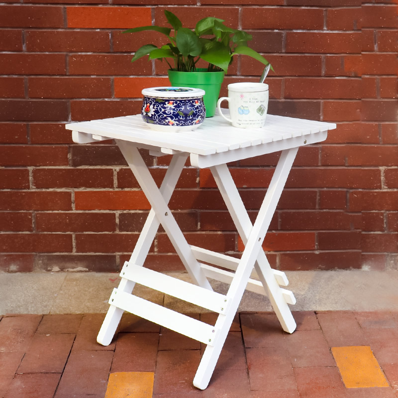 Country Style Creative Retro Folding Solid Wood Small Square Table Balcony Garden Courtyard Window Decoration Table
