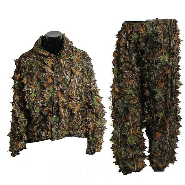 Tactical Sniper Woodland 3D Leaf Ghillie Suits Men Camouflage Hunting Clothes Jungle Airsoft Paintball Clothes Shirt + Pants 3