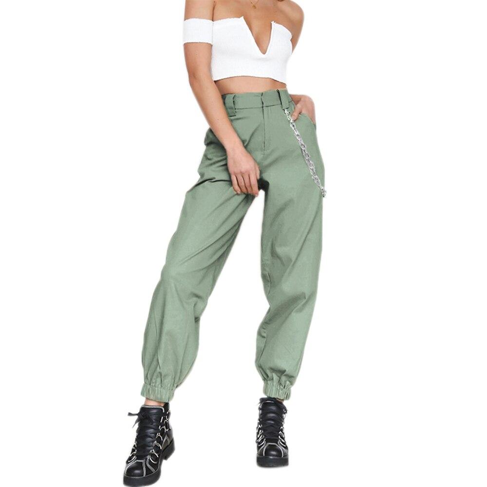 PUIMENTIUA 19 Autumn vintage chain black cargo pants women high waist pants joggers baggy trousers women streetwear plus size 18