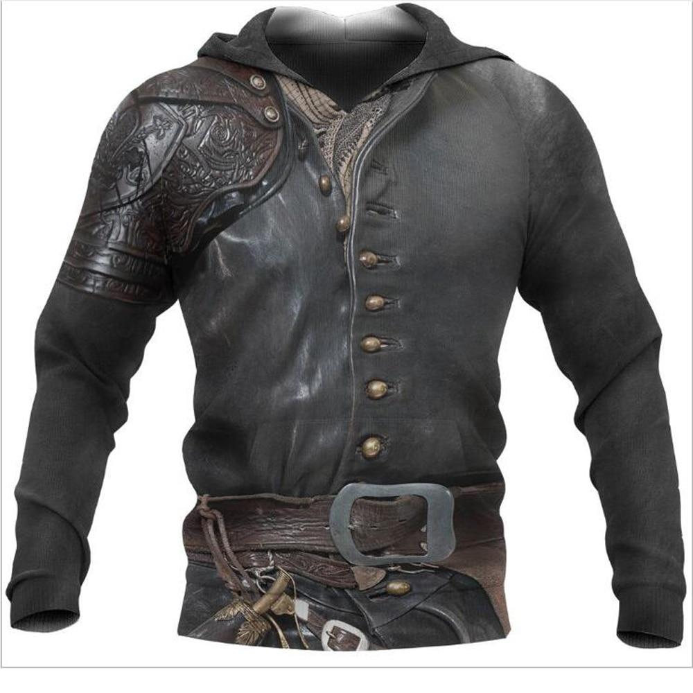 Retro Viking Armor 3D All Over Printed Men hoodies Harajuku Fashion hooded Sweatshirt Unisex Casual jacket Zip Hoodie