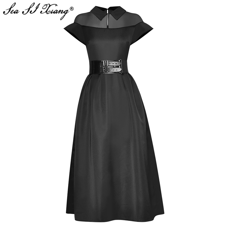 Seasixiang Fashion Designer Summer Dress Women Turn-down Collar Butterfly Sleeve PU Sashes Office Lady Dresses
