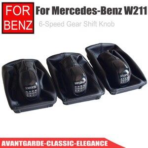Image 4 - Auto 6 Geschwindigkeit Schaltknauf Ebene Knob Mit Leder Boot Für Mercedes Benz E Klasse W211 S211 2002 2003 2004 2005 2006   2009