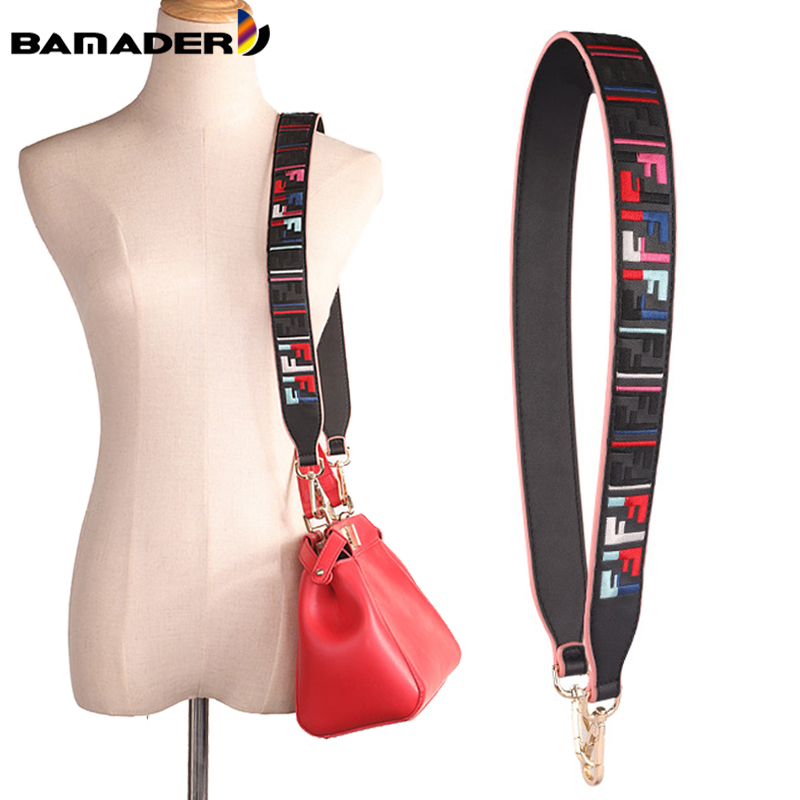 BAMADER High Quality Genuine Leather Bag Strap Embroidered Black Woman Wide Shoulder Strap 90*4CM Fashion Bag Replacement Parts