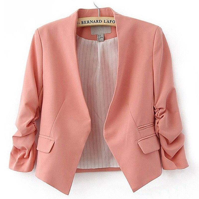 Ladies Blazer Long Sleeve Feminine Blazer Femme Pink Blue White Black Blazer Autumn Women Suit Jacket NEW!