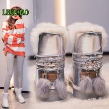 Big size 36-40 New warm snow boots women zipper platform boots solid color waterproof mid calf thick fur winter boots
