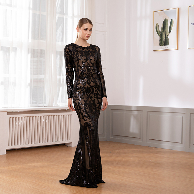 Elegant Full Sleeved O Neck Gold Sequined Party Dress Stretch Floor Length Bodycon Black Maxi Dress 2