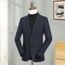 2019 Europe Winter Men Blazers Wool Solid Blue Smart Casual Blazer Jacket Male Slim Fit Fashion City Suit Regular Coats Costume
