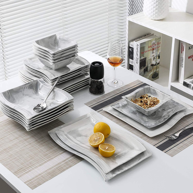 MALACASA FLORA 26-Piece Nordic European Style Marble Porcelain Dinnerware Set with Bowl,Dinner Plate,Dessert&Soup Plate Set Gift 1
