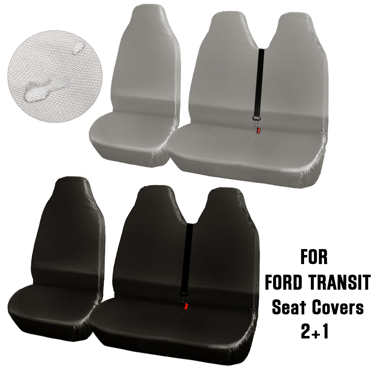 FOR FORD TRANSIT MK7 BLACK HEAVY DUTY WATERPROOF VAN SEAT COVERS 2+1