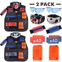 Colete preto para crianças, kit de terno tático para brinquedos, 2 unidades presentes
