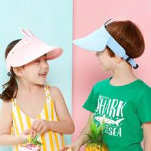 Hot selling 2020 new Summer Womens Outdoor Sport Cute Rabbit Kids 360 Rotating Visor Cap Adjustable Empty Top Sun Protection Hat(China)