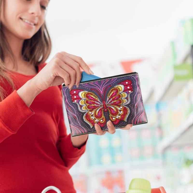 DIY מיוחד בצורת יהלום ציור תיק Wristlet ארנק נשים איפור ארגונית אחסון תיק רקמת תפר חג המולד מתנה