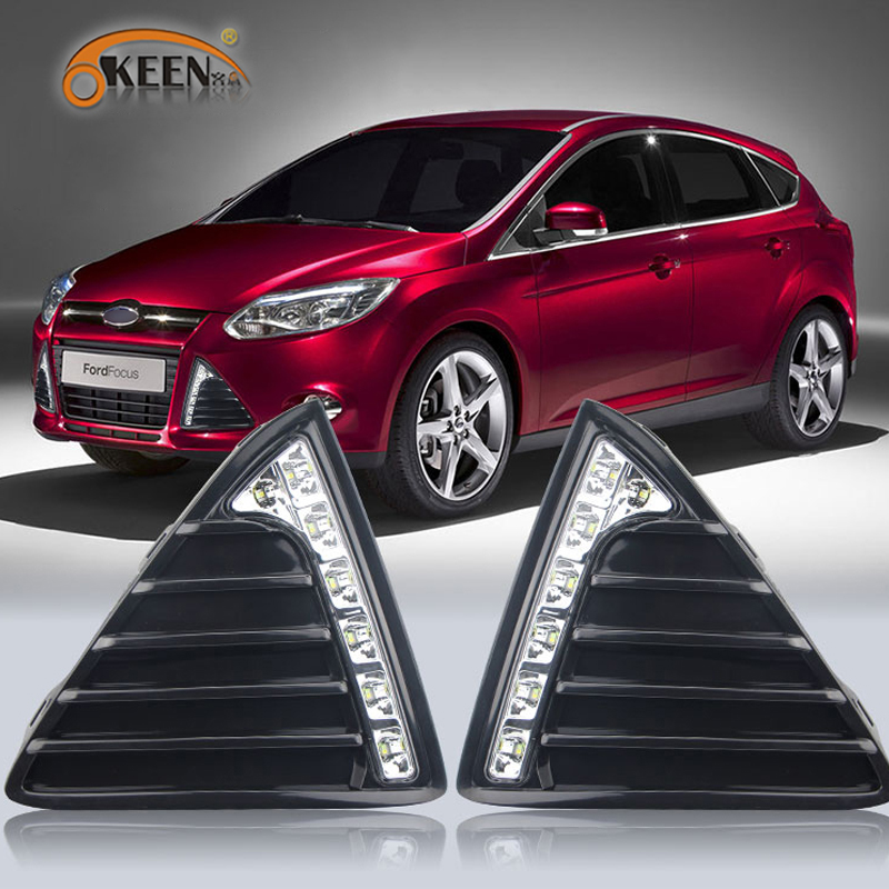 For Ford Focus 3 MK3 2012 2013 2014 LED Daytime Running Light Yellow Turning Signal Relay Waterproof ABS 12V Car DRL Lamp