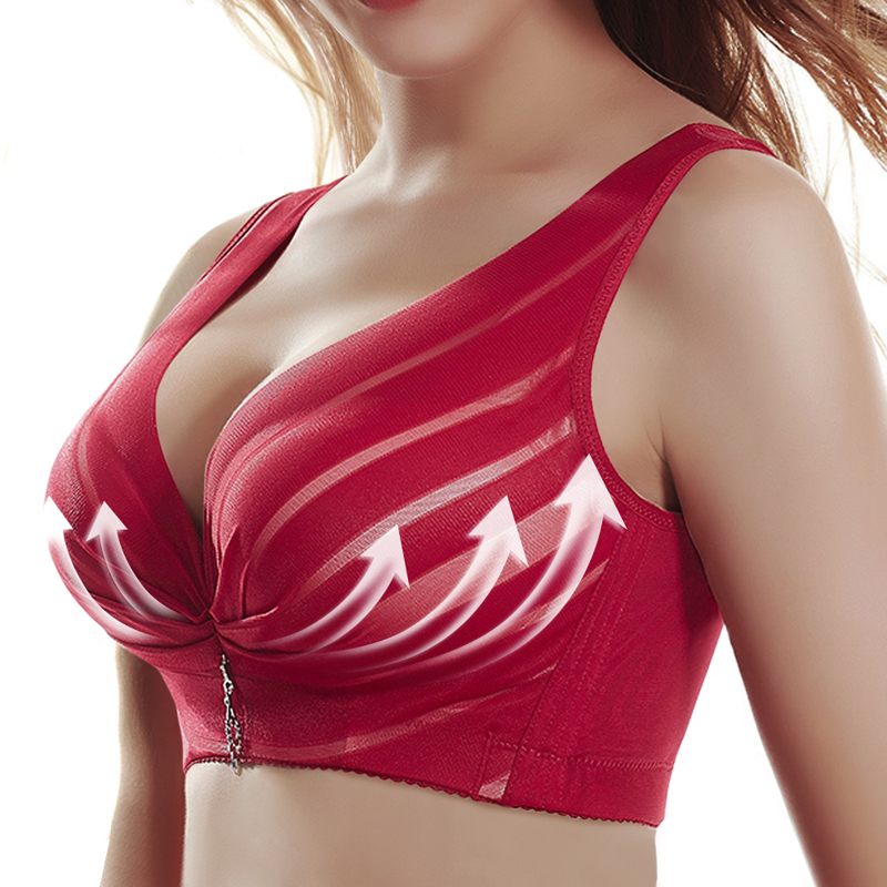 LOOZYKIT Wireless Adjustable Lace Female Sports Bra Women Full Cup Thin Underwear Push Up Bra Breast Cover B C D Cup Large Size