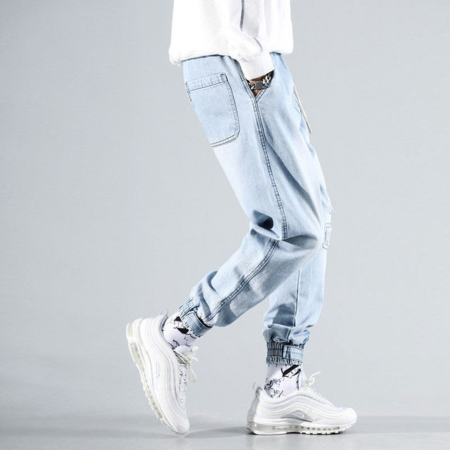 Men's Ripped Jeans Sky Blue High Street Casual Drawstring Denim Pants