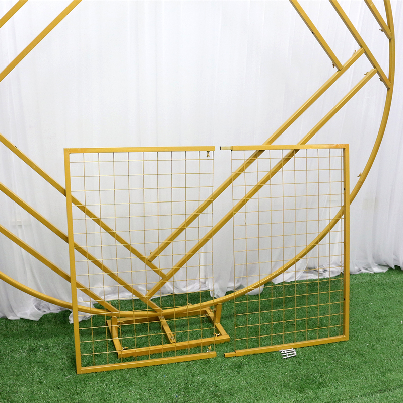wedding : JAROWN New Wedding Arch Mariage Backdrop Wrought Iron Creative Ring Geometric Diamond Grid Frame Stand Home Party Decoration
