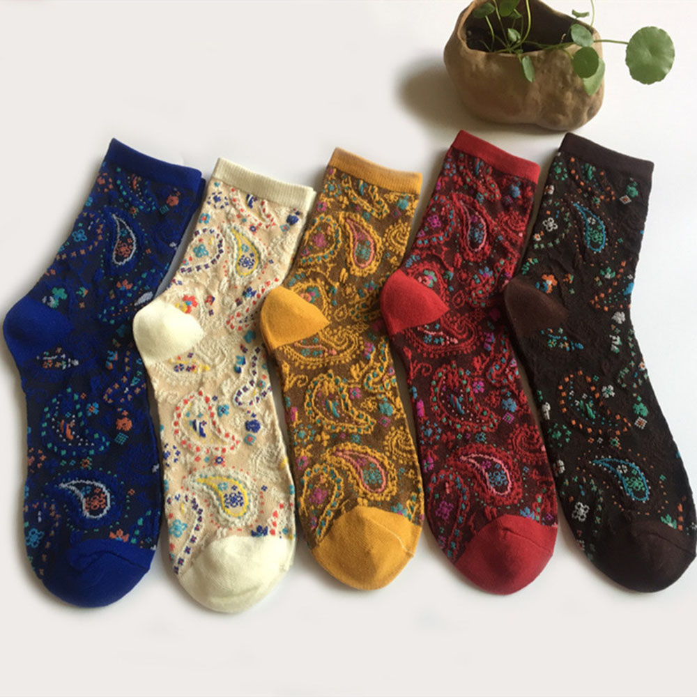 Fashion Japanese Vintage Ethnic Style Art Socks Peacock Feather Pattern Fancy Socks Cute High Quality Jacquard Woman Socks