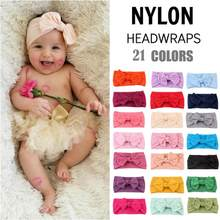 1 pc 21Color Kids Headwear Baby Girls Headbands Nylon Hair Band Turban Knotted Girl's Hairbands Baby Hair Accessories(China)