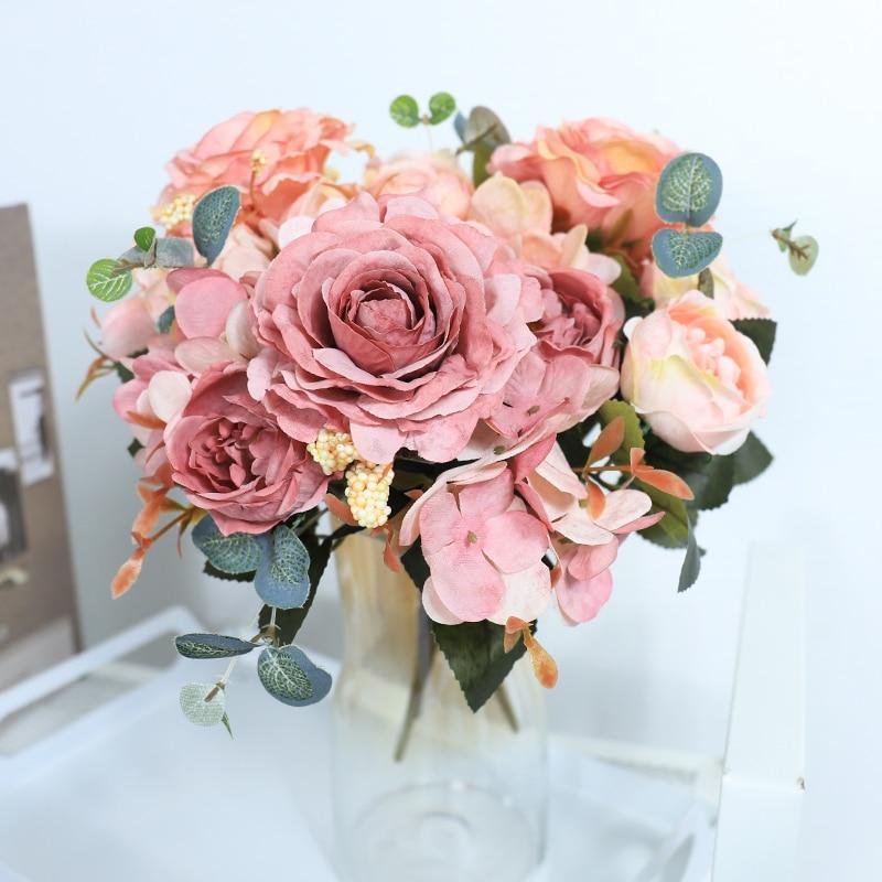 Künstliche Blumen Retro Seide Rose Bouquet Hortensien Pfingstrose Vintage Braut Mit Gefälschte Blume Hause Hochzeit Dekoration Zubehör
