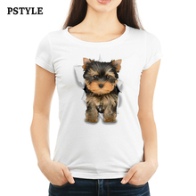 Pstyle 2018 Women Short Summer T Shirt Funny t shirts Cute 3D Dog Print T-shirt femme girls tee tops dropshipping brand