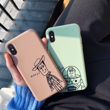 Cute Cartoon Anime Toy Story Buzz Lightyear Phone Case For iphone Xs MAX XR X 6 6s 7 8 plus Fun Couple Soft TPU back Cover Coque