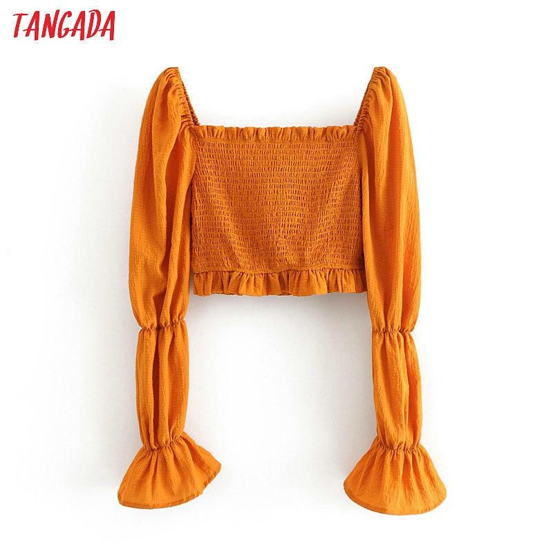 Tangada Women Retro Strethy Orange Crop Blouse Long Sleeve 2020 New Arrival Chic Female Sexy Slim Shirt Tops 3H575