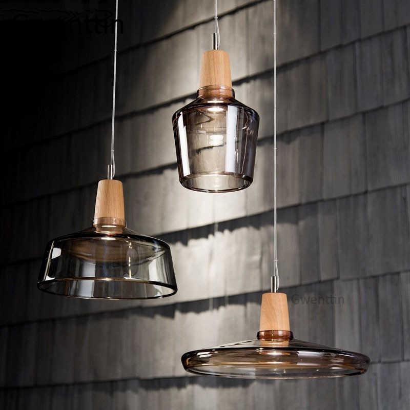 Современные светодиодные деревянные подвесные светильники, стеклянный Лофт, промышленный декор, скандинавский подвесной светильник, подвесной светильник для гостиной, светильники E27