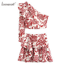 2020 new women summer suits two piece set red printed poplin asymmetric neckline one sleeve Ruffle trims top&mini skirts(China)