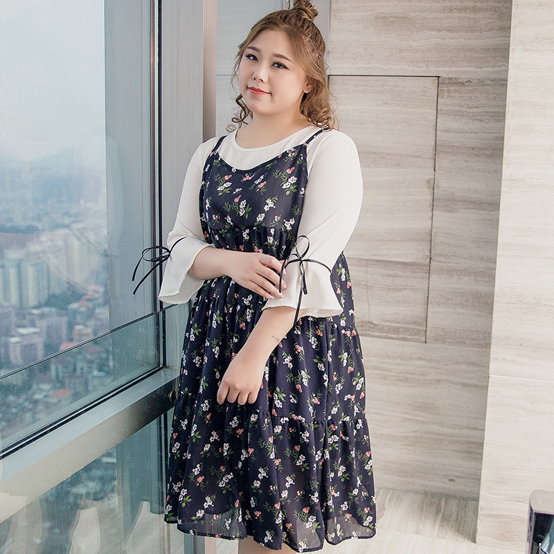200 Loose-Fit Large GIRL'S Skirt Plus-sized Womenswear Mm Autumn Loose And Plus-sized Fake Two-Piece Chiffon Dress 587