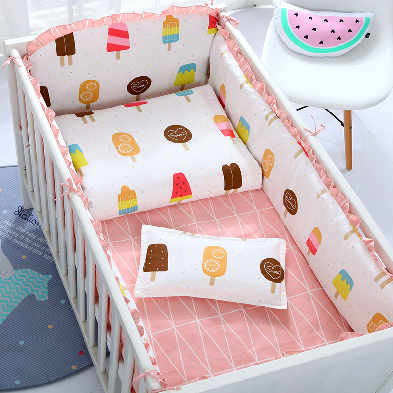 6/9pcs Boy Girl Soft Cotton Baby Crib Bedding Set Kid Bed Linen Baby Nursery 120*60/120*70cm