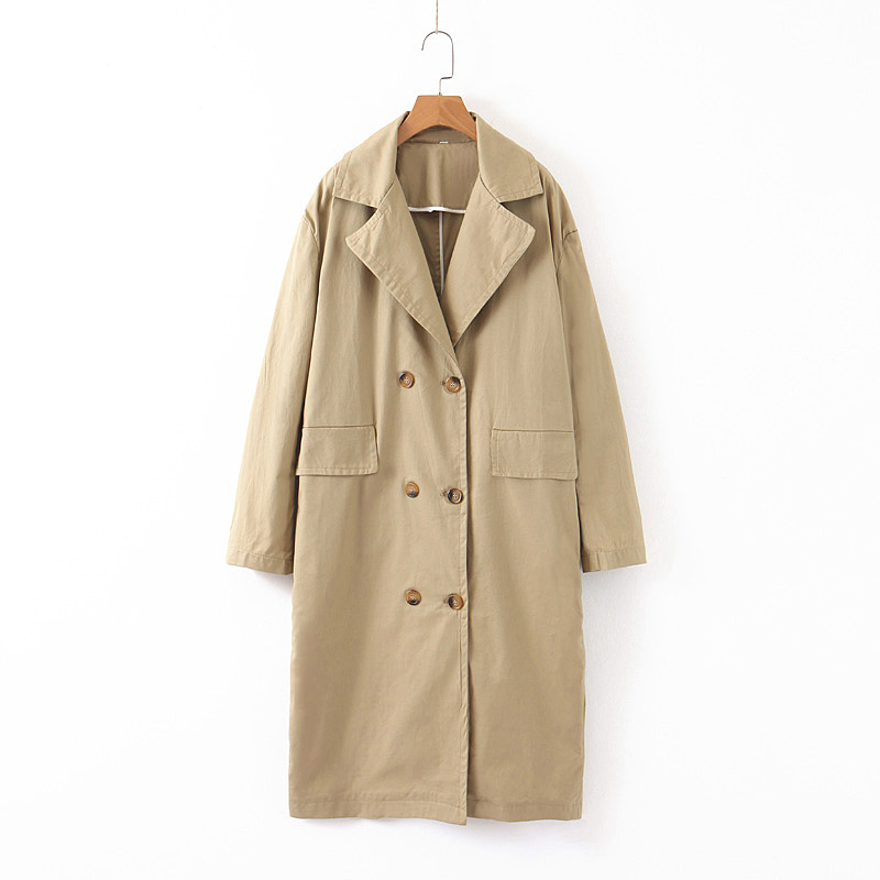 2019 High Quality Khaki Women   Trench   Turn Down Collar With Two Pockets Female Coat Ladies Long Femme Outwear