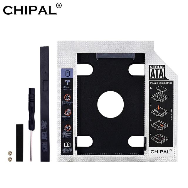 CHIPAL 2nd HDD Caddy 9.5mm 12.7mm Optibay SATA 3.0 obudowa HDD/obudowa Adapter DVD napęd dysku twardego do 2.5 SSD 2TB do laptopa