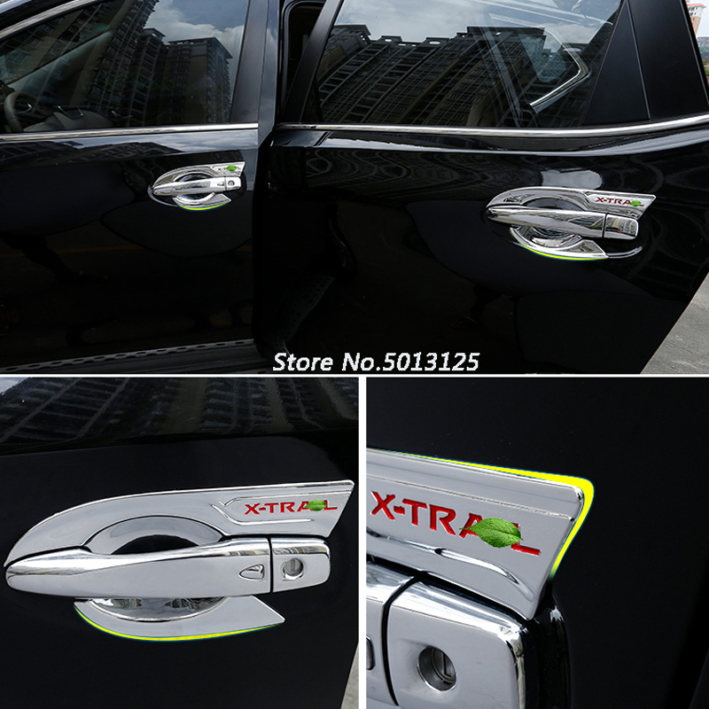 ABS Chrome <font><b>handle</b></font> Protective Cover <font><b>Door</b></font> Outer Bowls Trim For <font><b>Nissan</b></font> <font><b>X</b></font>-<font><b>trail</b></font> Xtrail T32 2014 2015 2016 2017 2018 2019 image